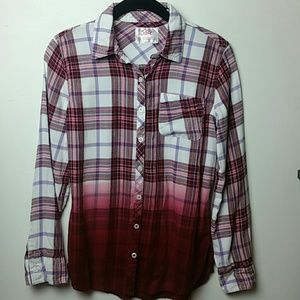 Justice long sleeve ombre plaid shirt sz 12